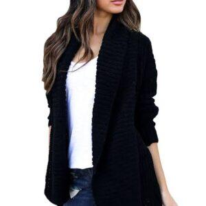 Black Cozy Pocketed Cardigan (Lamb Wool)